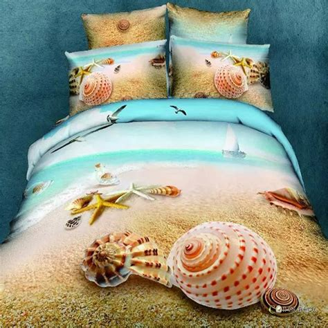 queen size bed sheets conch shells and starfish beach bedding set queen size