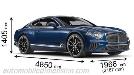 bentley continental gt  dimensions boot space  interior