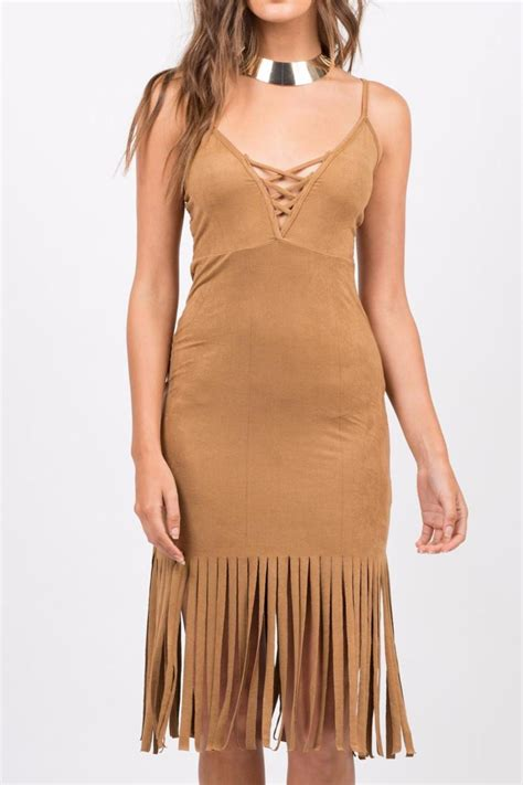 Dress Branded branded vegan suede fringe dress from san diego shoptiques