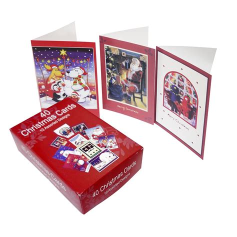 Gift Card Packs - christmas card pack 40 cards decorative card sets from crafty crocodiles uk