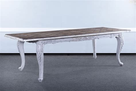 handcarved distressed white extension dining table