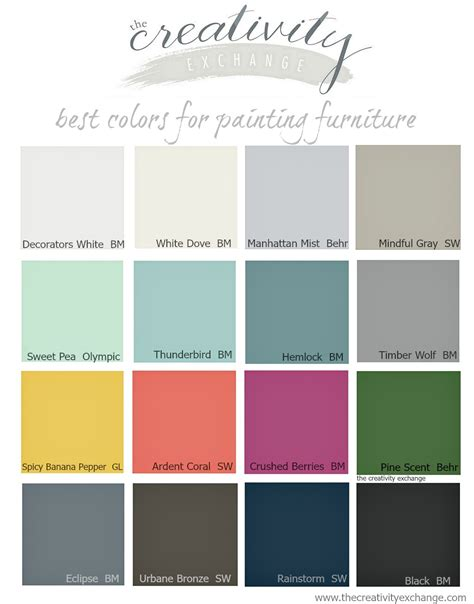 color paints 16 of the best paint colors for painting furniture