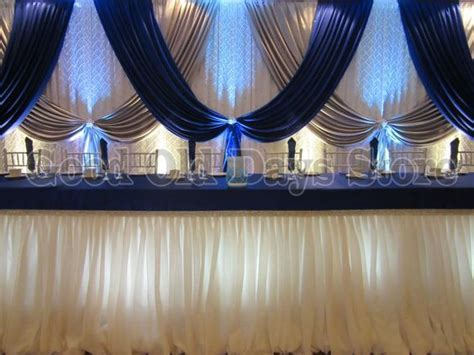 10ft x 20ft Royal Blue Silver With White Wedding Backdrop