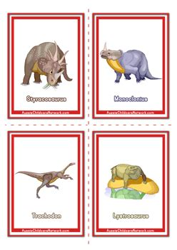 dinosaur flashcards aussie childcare network