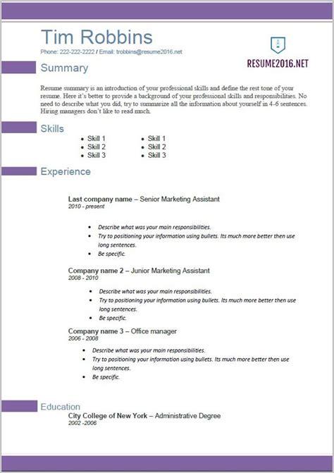 Resumes In Word 2013 by Resume Templates In Word 2013 Resume Resume Exles
