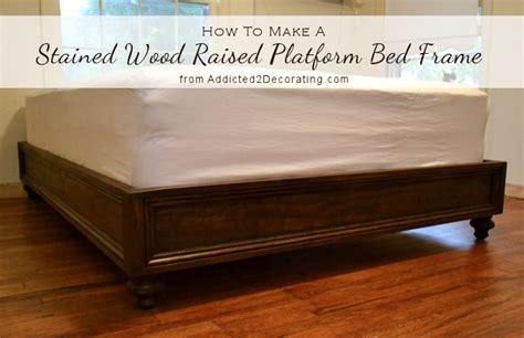 how to make a platform bed frame diy stained wood raised platform bed frame finished