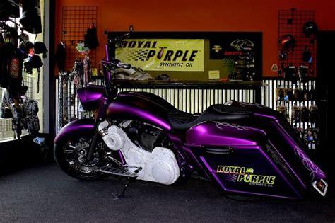 royal purple custom motorcycle bagger done by misfit motorcycles purple
