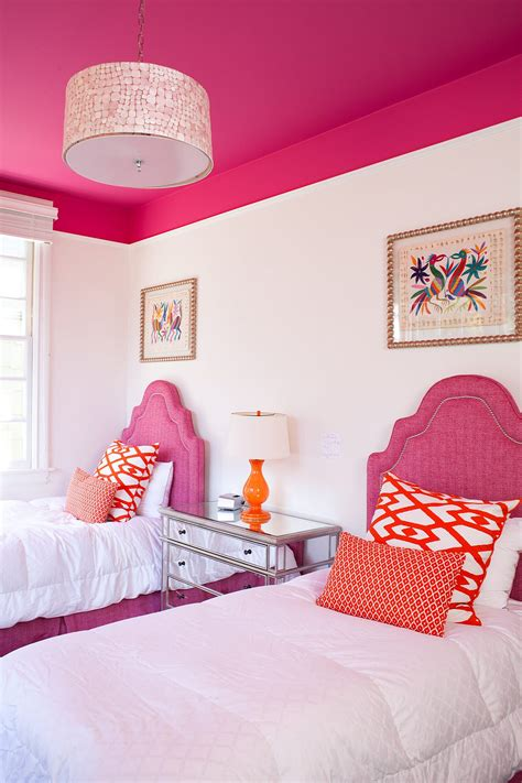 cute room painting ideas little girls bedroom pink girls room features two beds
