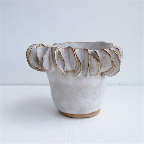 Handmade Ceramic Vase - handmade white ceramic vase with frill edge by kabinshop