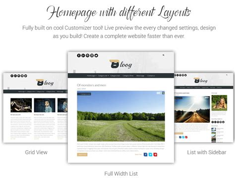 wordpress different layout for homepage bloog lite best free wordpress blog theme for 2018