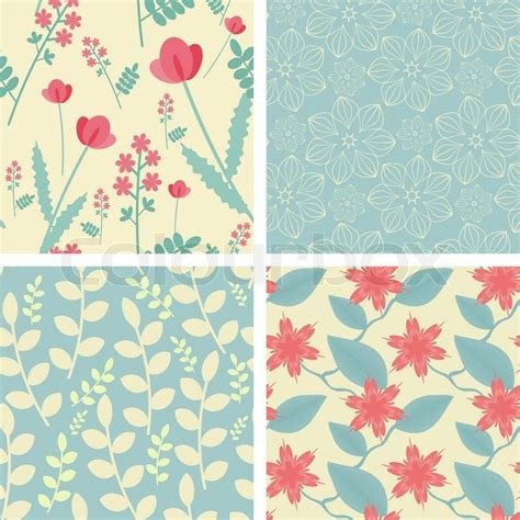 pattern colorway four floral seamless patterns in light teal and red colors