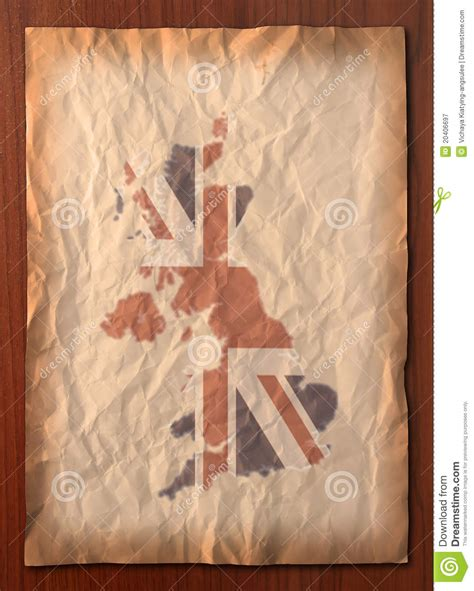 vintage paper craft vintage uk map on paper craft royalty free stock