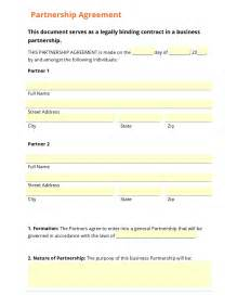 Partnership Agreement Template California Business Form Template Gallery