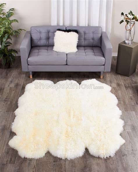 large ivory white sheepskin rug sexto 5 5x6 ft
