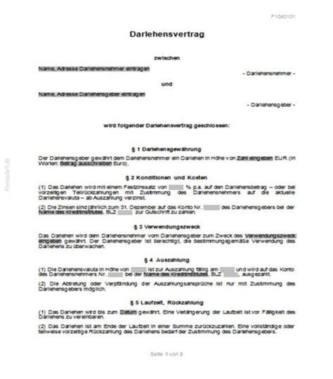 privat kreditvertrag formular kostenlos darlehensvertrag privat darlehensvertr 228 ge vertr 228 ge