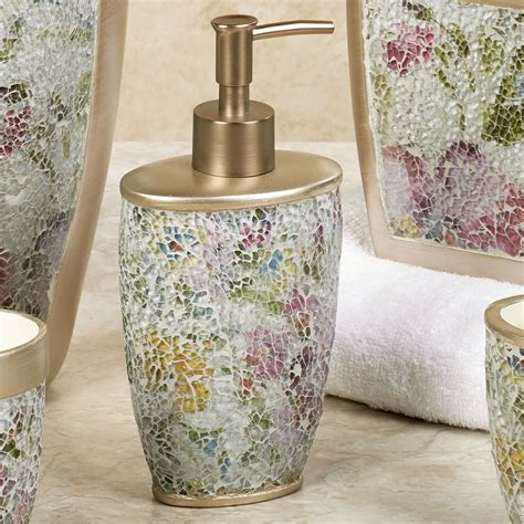 watercolor floral mosaic bath accessories