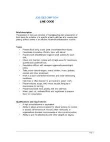 Chef Duties And Responsibilities by Line Cook Description Template Sle Form