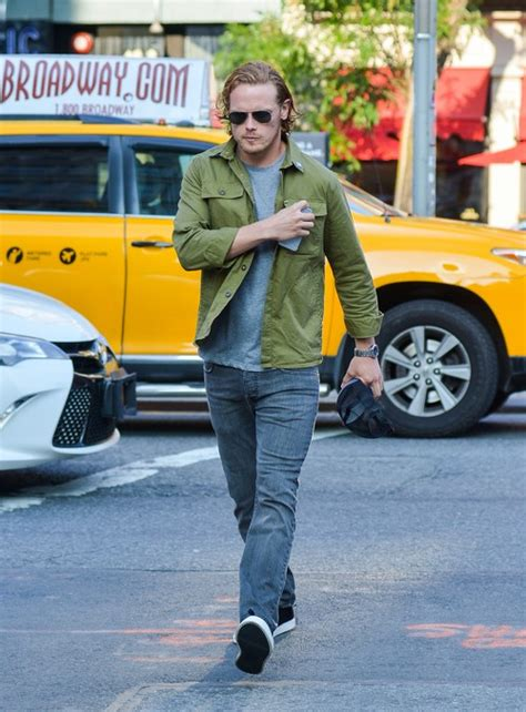 celebrity dirty laundry outlander sam heughan out and about in new york city celeb dirty