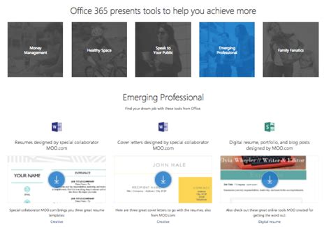 office 365 presents tools templates to help you achieve