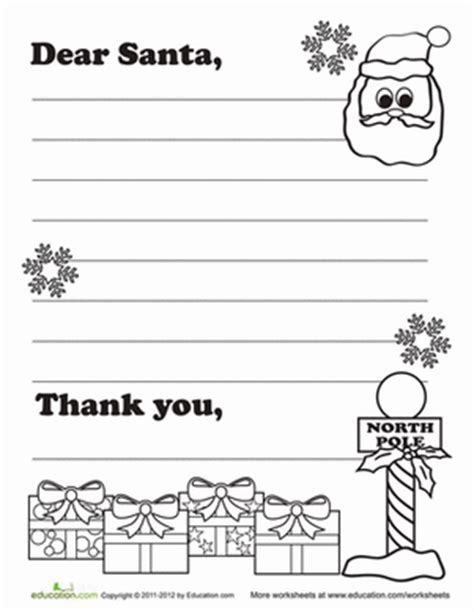 letter to santa template for 1st grade write santa a letter worksheet education com