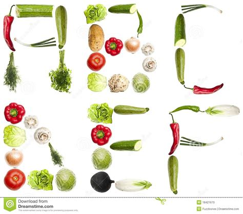 vegetables 10 letters letters made of vegetables stock photo image 18421670