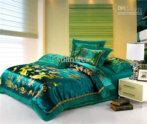 legend of bedding tranditional tapestry satin green dragon phoenix wedding