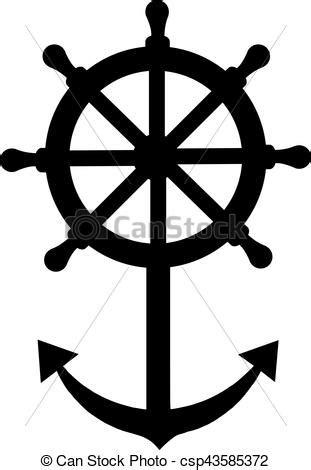 dessin roue bateau roue bateau direction ancre illustration vecteurs