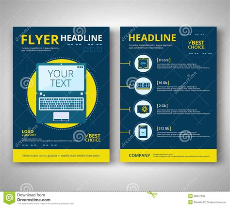 notebook design template flyer design stock vector image 50247509