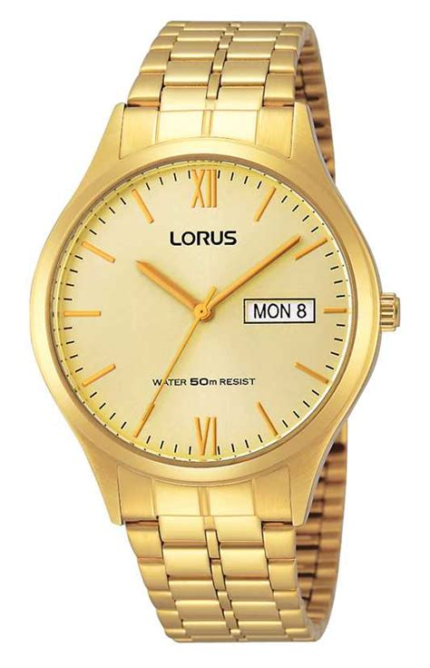 lorus mens all gold with day and rxn04dx9