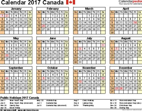 yearly calendar 2017 canada canada calendar 2017 free printable pdf templates
