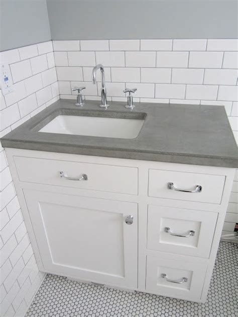 Laminate Vanity Tops For Bathrooms by White Subway Tile Wall Concrete Counters White Penny