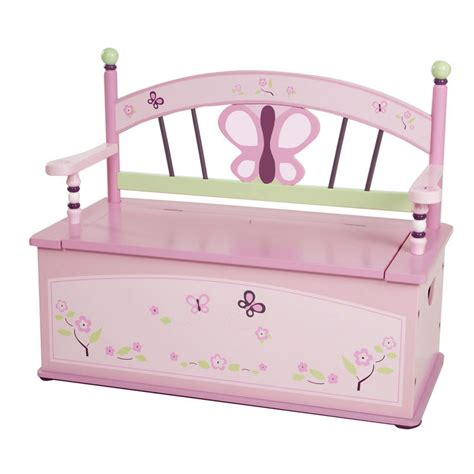 toy box seat bench sugar plum toy box bench seat w storage girl butterfly ebay