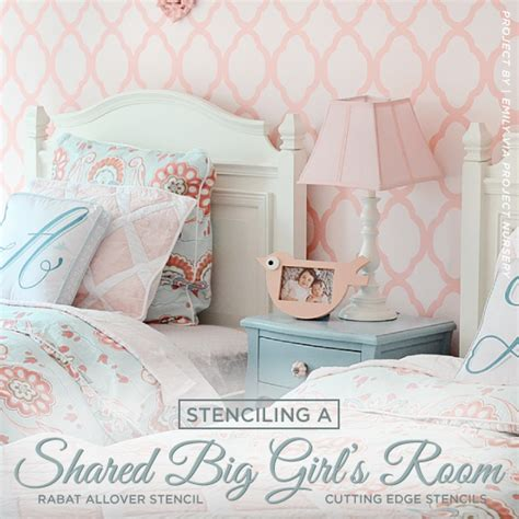 girls bedroom stencils stenciling a shared big girl s room stencil stories stencil stories