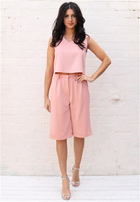 Spike Set Topculottes jumpsuit onenationclothing co ord dusky pink