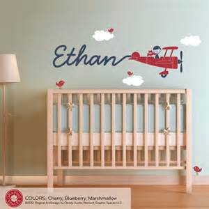 airplane wall decal boy name skywriter for by graphicspaces custom airplane wall decal for jfintes