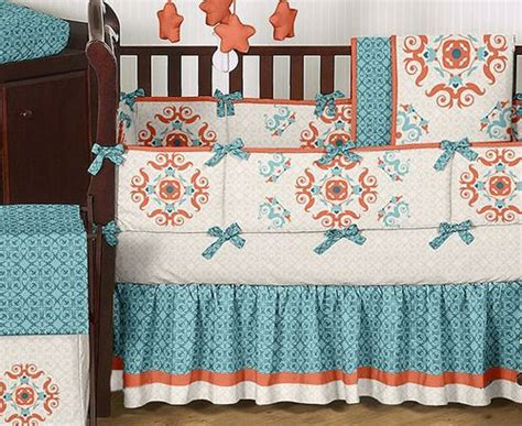 turquoise and orange bedding turquoise orange moroccan baby bedding crib set for
