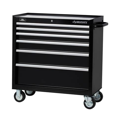 husky 36 in 6 drawer tool cabinet black h36tr6 the