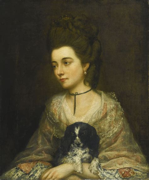 gainsborough a portrait follower of thomas gainsborough r a portrait of a lady holding a spaniel oil on canvas 30 quot x