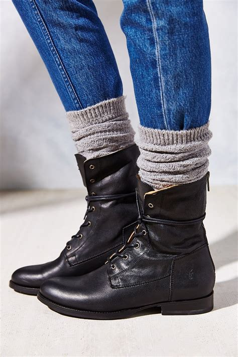frye lace up boots frye artisan lace up boot in black lyst