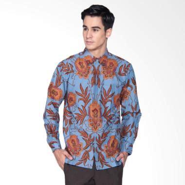 Kemeja Batik Kawung Grompol Printing Lengan Panjang jual danar hadi print motif sekar ceplok guci kemeja batik panjang pria blue 03 0617 scgc1