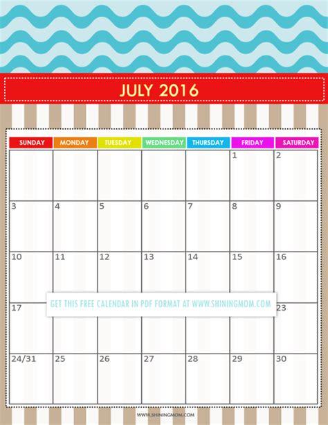 Calendar Printable 2016 July Free Printable Calendars For July 2016