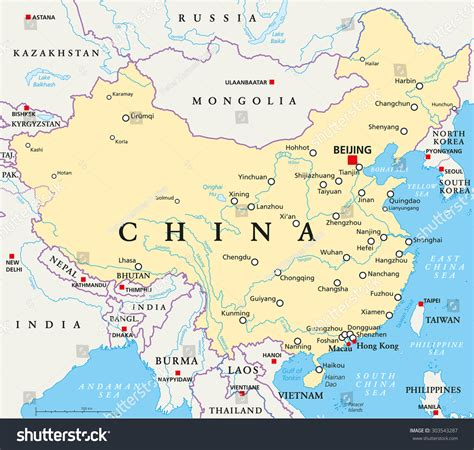 political map of china with cities china political map with capital beijing national borders