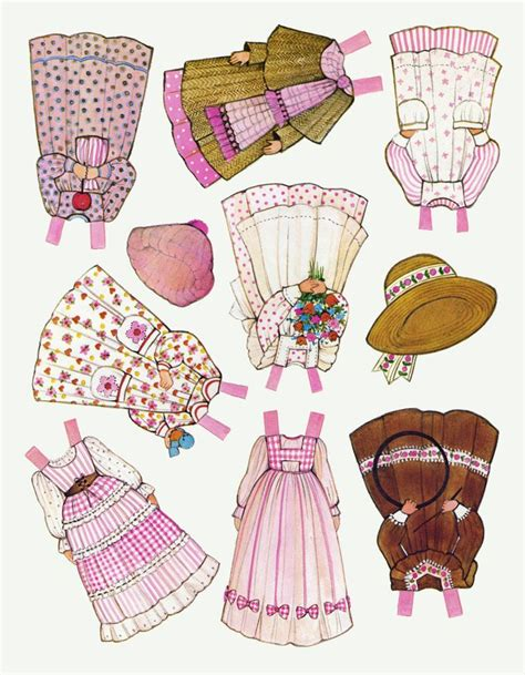 printable paper doll dresses ᴗ ginghams katie clothes schnitte pinterest