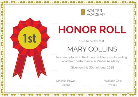 honor roll certificate template word honor roll certificate design template in psd word