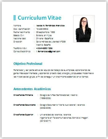 Modelo De Curriculum Para Trabajo Simple Modelo De Curriculum Vitae Simple Para Descargar Best Paper Editing Services