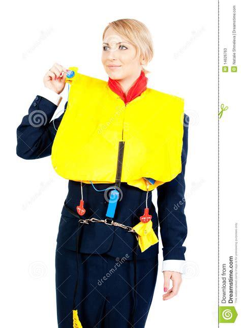 zwemvest met vleugels stewardess in een reddingsvest stock foto s beeld 14626763