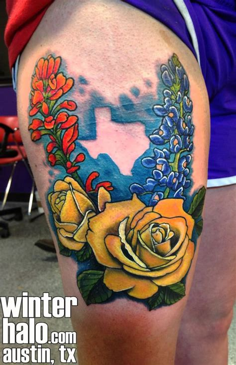 realistic texas flowers illustration tattoo by christopher