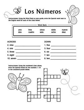 printable spanish numbers 1 10 los numeros spanish numbers 1 10 crossword puzzle
