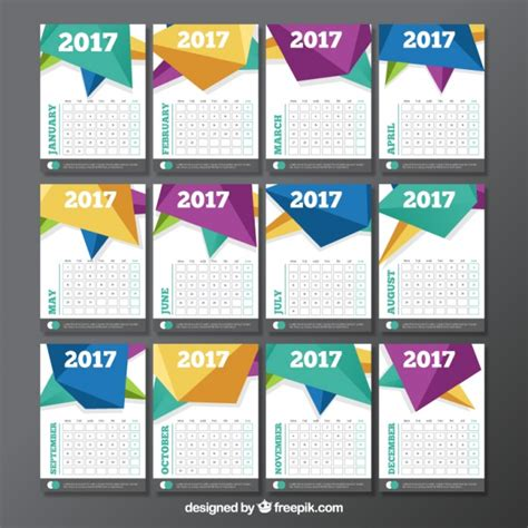 Calendar Design Templates Free Calendar Template With Polygonal Design Vector Free