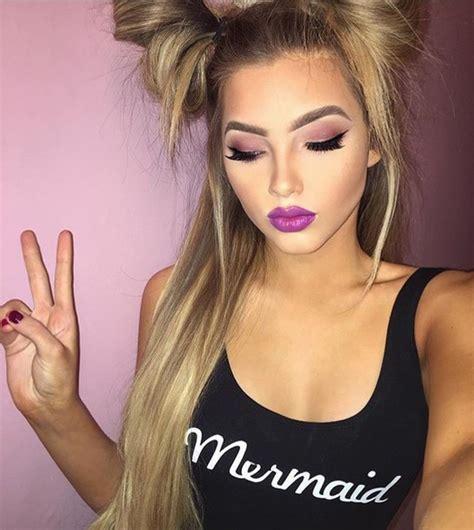 blonde hair purple lipstick top tank top black mermaid logo jumpsuit bodysuit